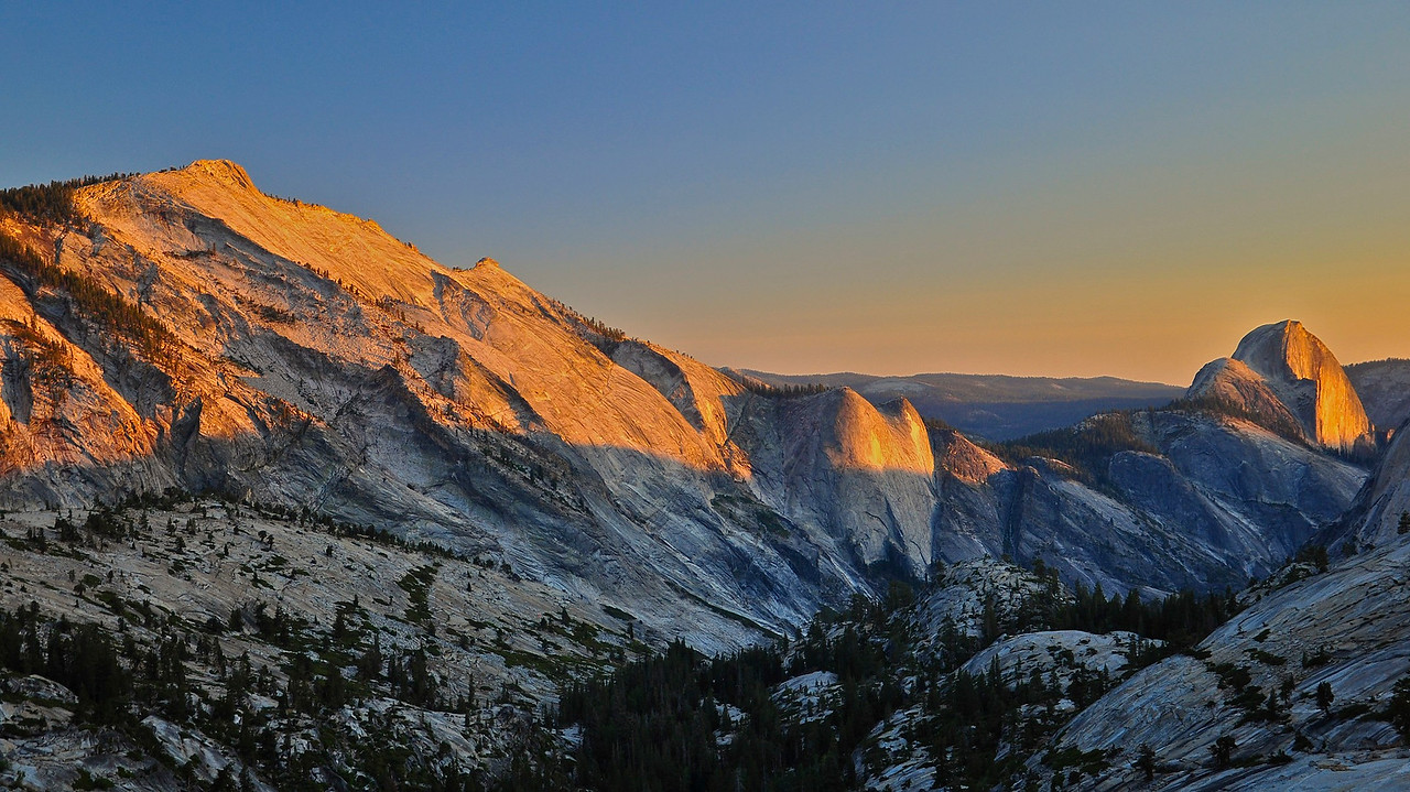 Dusk, Clouds Rest, Quarter Domes, Half Dome, from Olmsted Point, Yosemite National Park, US
