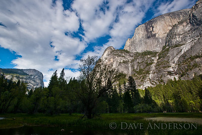 Half Dome from Mirror Lake. The peak of half Dome is about 4,800 feet above the lake.