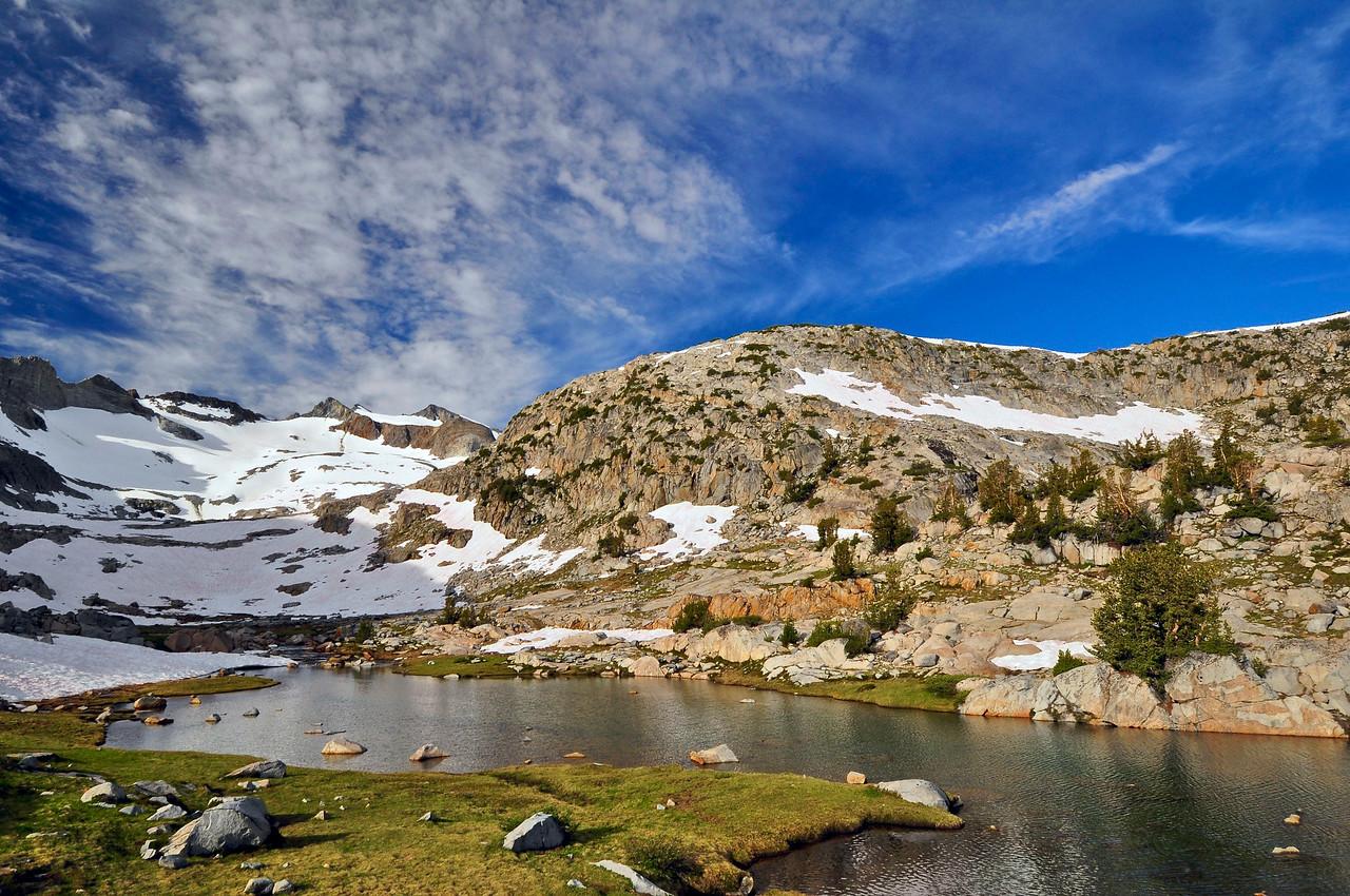 Unnamed Lake, Lyell Cirque, Mt Lyell, and Lyell Glacier, near Donohue Pass, Yosemite National Park