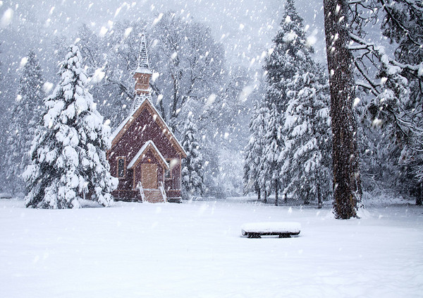 Chapel and Snow in Yosemite