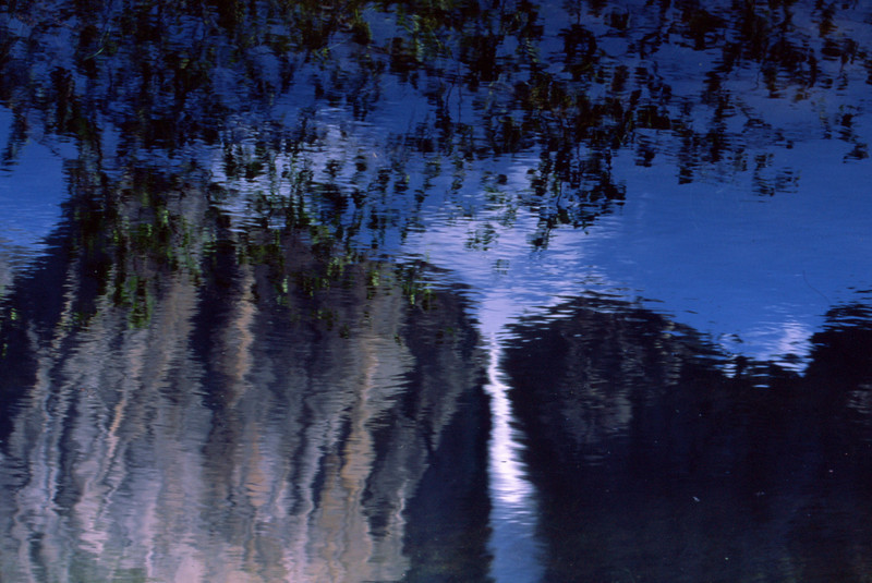 reflection yosemite falls in Merced river