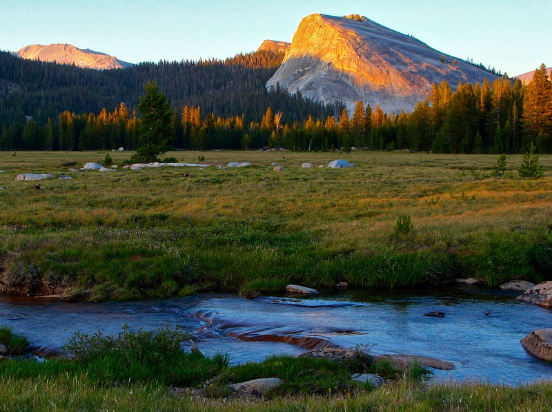 Sunset, Budd Creek & Lembert Dome, Tuolumne Meadows, Yosemite National Park, US