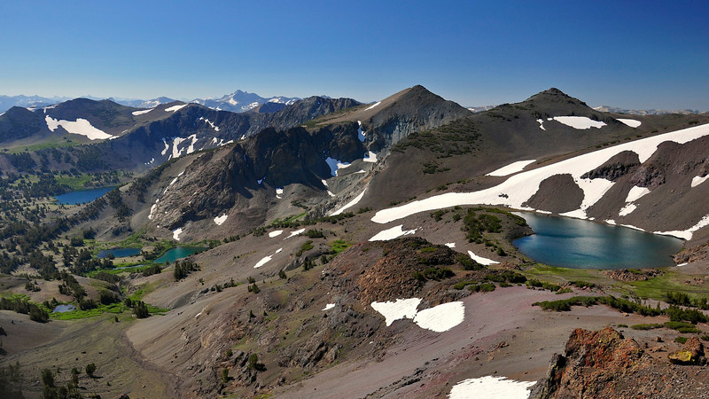 From right, Latopie Lake, Koenig Lake, Leavitt Lake. Pacific Crest Trail, Sonora Pass, Emigrant Wilderness, CA.