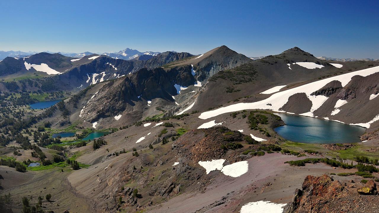 From right, Latopie Lake, Koenig Lake, Leavitt Lake. Pacific Crest Trail, Sonora Pass, Emigrant Wilderness, CA.