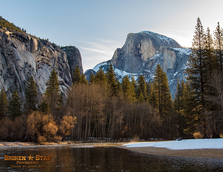 Wintry Half Dome with Merced River