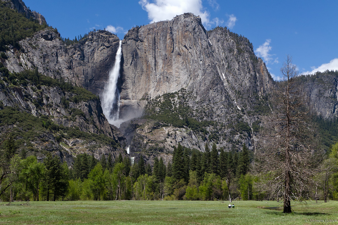 Couple enjoying Yosemite falls.