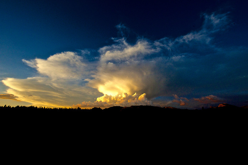 storm clouds over Tuolumne Meadows at Sunset