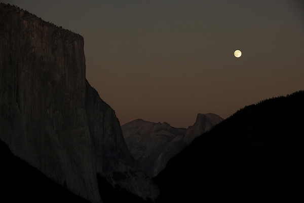 Full Moon  El Capitan and Half Dome