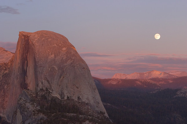 Half Dome and Full Moon