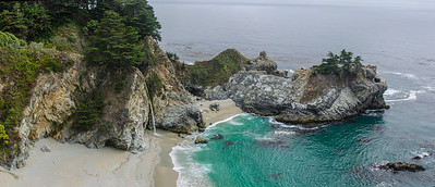 Beach waterfall, Big Sur, CA