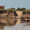 Luangwa river crossing by two manpower ferry.