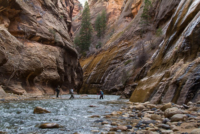 """Don't be deceived by the shallow water. It will knock you over. Big, slick rocks in the river made nearly every step a """"test and verify"""" event before committing your full weight."""