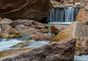 A small waterfall greets those headed for the start of the Virgin River Canyon hike.
