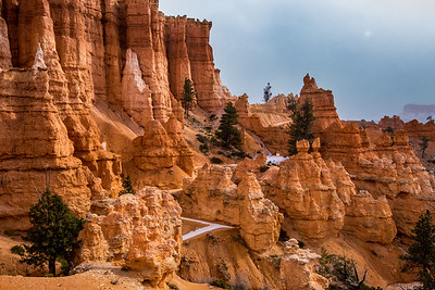 Snowy path through the Hoodoos of  Bryce Canyon National Park