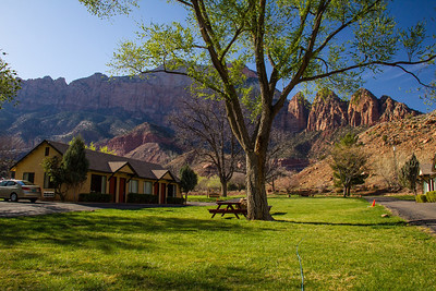 Looking west from Canyon Ranch Motel, Springdale Utah, where I stayed while visiting Zion N.P. March 2013.