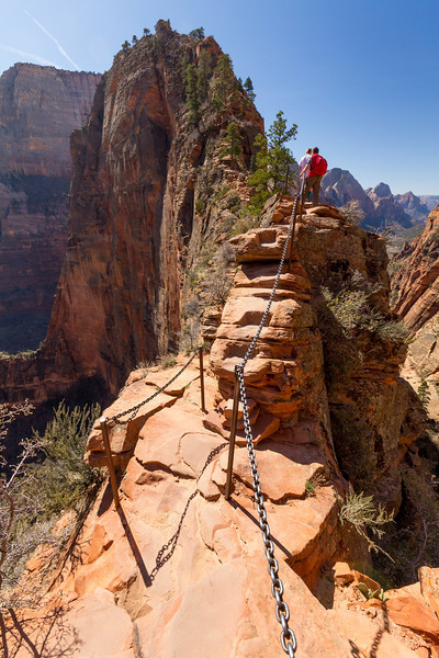 Angel's Landing in Zion is 1500 vertical feet of gut check. Even with safety chains there is a fatality every 20 months on average, making it one of the top five most dangerous hikes in America. A separate gallery covers the Angel's Landing hike in detail.