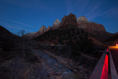 Zion National Park. Darkness falls on the Virgin River from the bridge that heads to Springdale, Utah (behind camera).