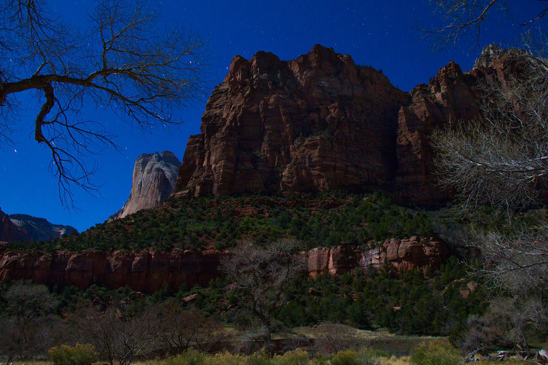 Night time exposure. This is the lower end of the rock formation that makes up Angel's Landing.