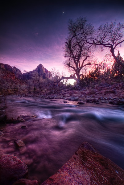 Night Watchman<br /> <br /> The Moon peaks over the Virgin River & the Watchman as the Sun leaves the Western sky. <br /> Zion National Park, Utah, USA