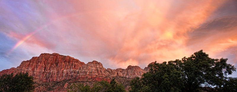 Rainbow-Fire<br /> <br /> A Summer monsoon rainbow and fire-in-the-sky over The Watchman<br /> <br /> Springdale, Utah, Zion National Park