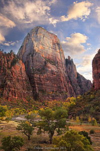 Zion's Great White Throne (6,744 ft) rising high above into the clouds on an autumn evening.  Zion has many landmark and some of the them will have a large group of photographers in front of them as you may already know. The Great White Throne however will not! You will only find a few photographers here and there photographing the Throne as it catches it's last bit of golden light of the day just before the sunsets. If you ask me about it, I'll tell you it looks like a giant sandstone skyscraper looming above Zion Canyon.