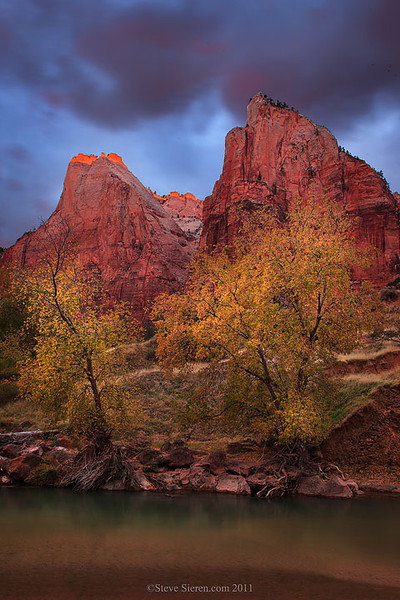 Court of the Patriarchs fall color in Zion National Park