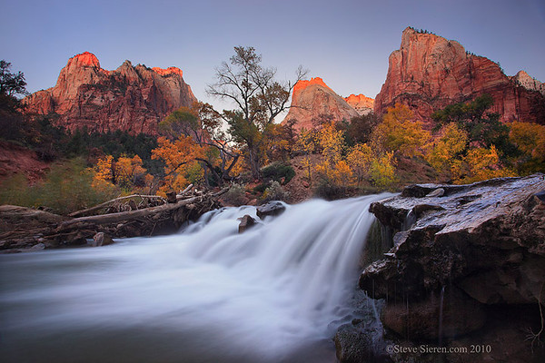 Waterfall in Zion National Park at Court of the Patriarchs