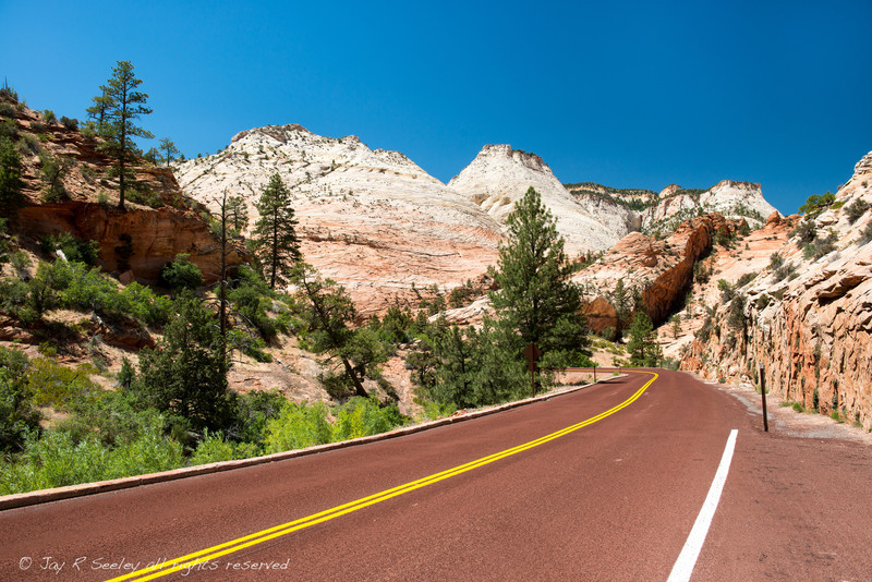 Entering Zion national park from the east for about the last 5 miles, you will be treated to an amazing display of rock formations.