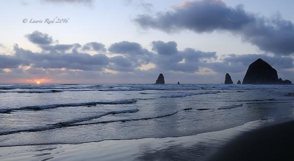 Pacific coast setting sun.