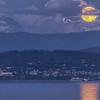 Supermoon over Bellingham, WA. Mt Baker in the background.