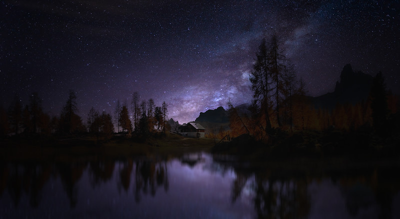 night stars astrophotography mountain alpine lake milkyway