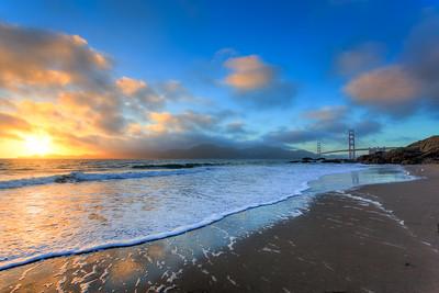 Sunset at Bakers Beach, California