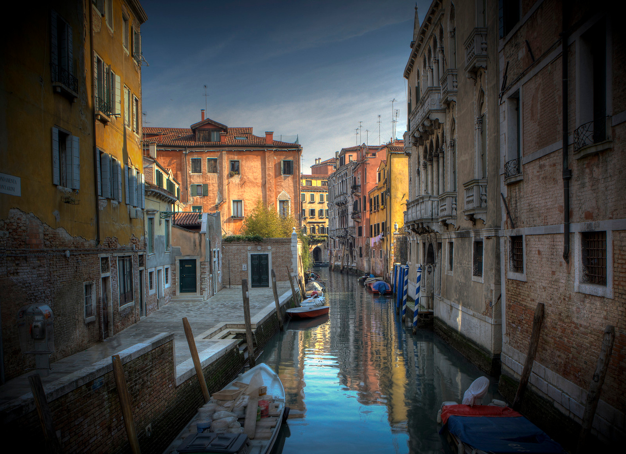 One of the many side canals in Venice