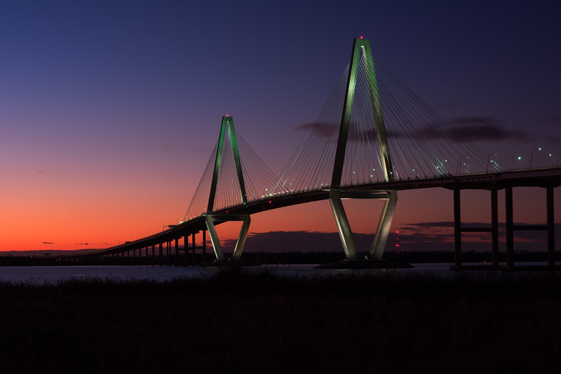 The beautiful and massive Arthur Ravenel Bridge that spans the intercoastal waters in Charleston, South Carolina.