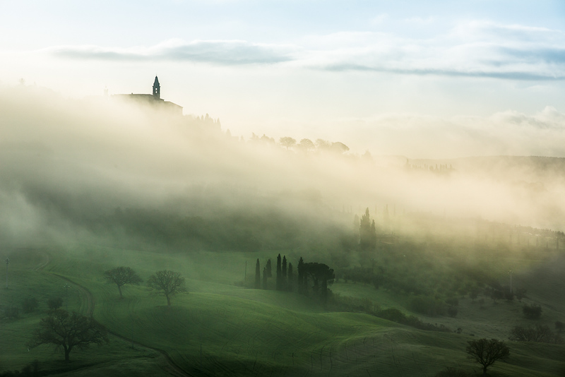 Pienza through the morning mist