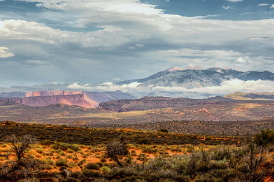 Amazing collection of diverse landscapes in a single view across Arches National Park.