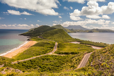 View of the Island of Nevis,  in the distance,  from the Island of St Kitts.