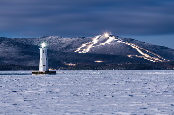 Herrick Cove Lighthouse and Mount Sunapee