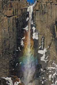 Rainbow Colors in Yosemite Falls with Snow and Ice