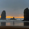 Photographer Photographing the Sea Stacks on Cannon Beach, Oregon