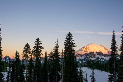 Mount Rainier is a stunning sight at any point in the day, but especially spectacular as the first morning light hits the peak.