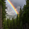 Rainbow over Two Jacks Campground, Banff National Park, Alberta, Canada