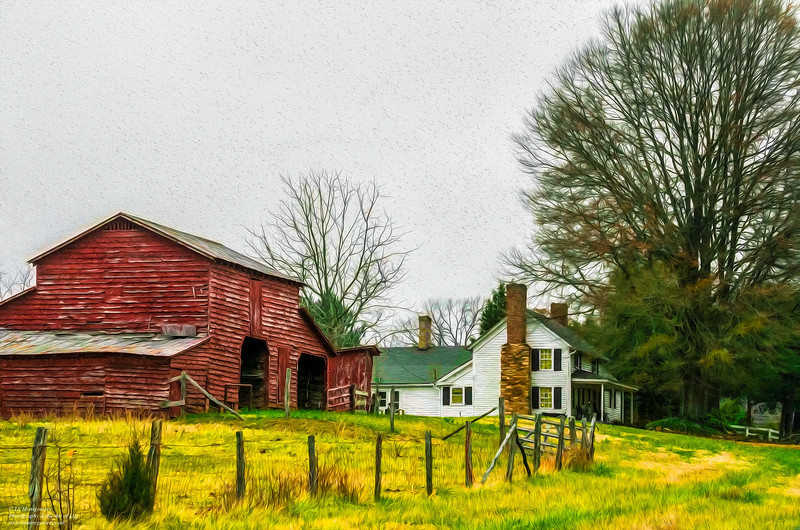 Farmhouse and Old Red Barn