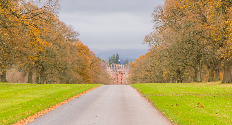 Royal Glamis Castle in Autumn Scotland.