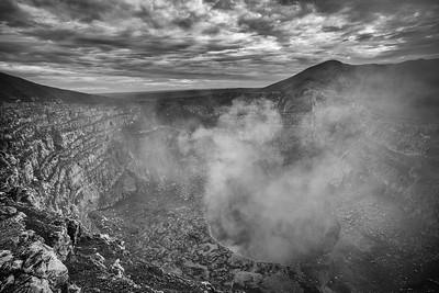 Masaya Volcano Crater BW