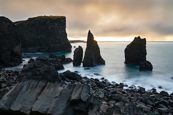 Sea stacks at Valahnúkamöl, Iceland