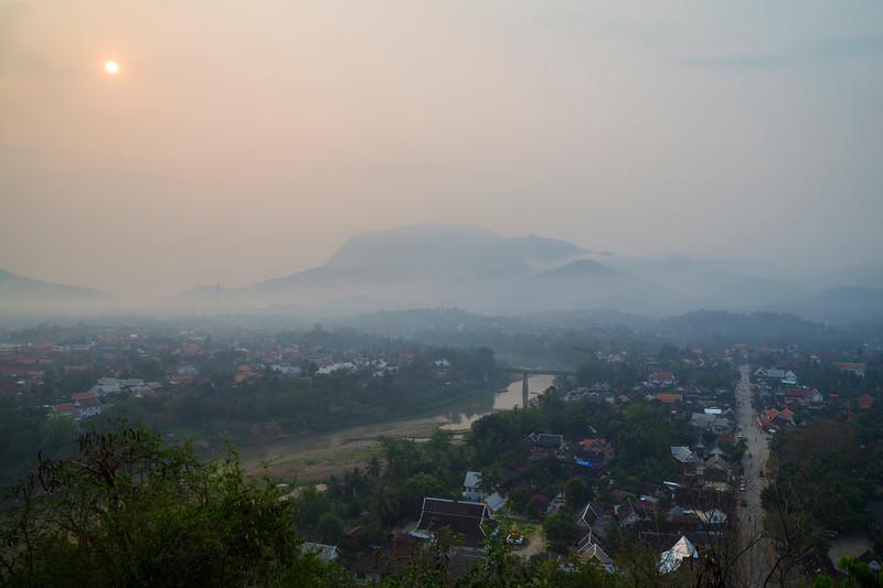 Aerial view of Luang Prabang at dawn
