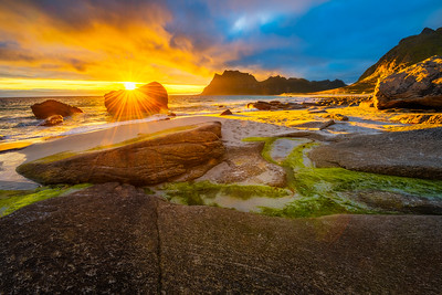 Dramatic sunset over Uttakleiv beach on Lofoten islands, Norway