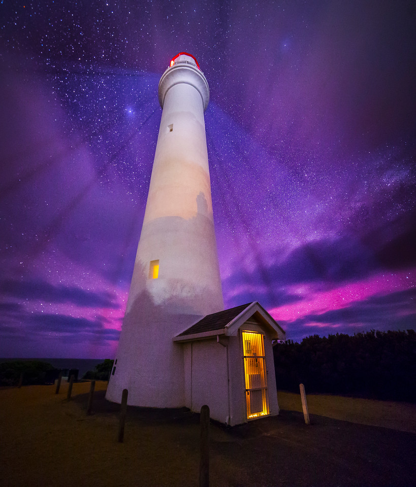 Split Point Lighthouse Aurora Portrait