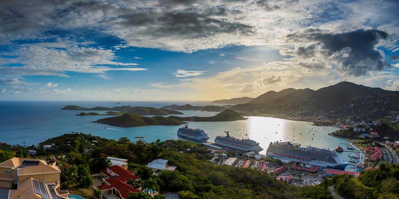 Cruise Ships from Paradise Point, St Thomas USVI
